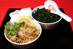 Chinese Take Away. A tasty Chinese meal of Chow Mein and Seaweed royalty free stock photos