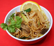 Chinese Take Away. A dish of vegetable chow mein royalty free stock image
