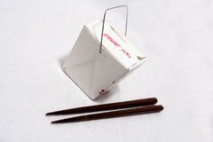 Chinese Take-Out. Isolated close-up picture of chinese take out with chopsticks Stock Image