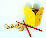 Chinese Take-Out. With chopsticks and fortune cookies Royalty Free Stock Image