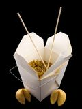 Chinese Take Out. Food isolated on a black background Royalty Free Stock Photo