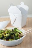 Chinese takeout. Broccoli with garlic sauce and rice Royalty Free Stock Images