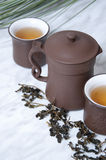 Chinese tea. Quality dried Chinese tea leaves with freshly drinks Royalty Free Stock Images