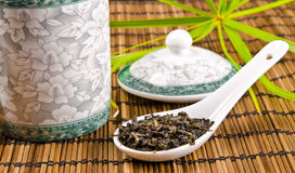 Chinese tea. Tea is an aromatic beverage prepared by adding cured leaves of the Camellia sinensis plant to hot water Royalty Free Stock Images