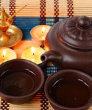 Chinese tea ceremony. China tea ceremony with candles and aromatic stick Stock Photo