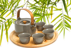Chinese tea ceremony on bamboo leaf Royalty Free Stock Photography