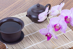 Chinese tea ceremony with ceramic set stock photos