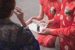 Chinese tea ceremony cups in wedding day stock images