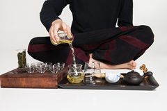 Chinese tea ceremony is perfomed by master Stock Photography