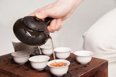Chinese tea ceremony is perfomed by master Stock Photos