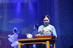 Chinese tea ceremony performance, wash the cup with boiling water Royalty Free Stock Image
