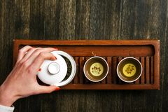Chinese tea ceremony set. Top down shot of Chinese tea ceremony set stock photo