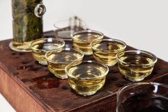 Chinese tea ceremony. Tea Set Stock Photo