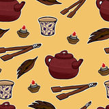 Chinese tea ceremony vector pattern Stock Photography