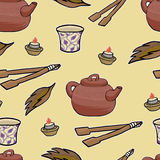 Chinese tea ceremony vector pattern Stock Photos