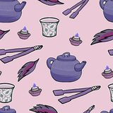 Chinese tea ceremony vector pattern Royalty Free Stock Photo
