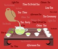 Chinese Tea Cerenony on a Red Background. Illustration of traditional chinese and japanese tea ceremony with teacups, teapot, creamer, wooden table on a red Stock Photography