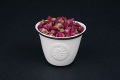 Chinese Tea Cup Filled With Dried Roses Royalty Free Stock Image