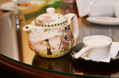 Chinese tea cup and milk Stock Photos