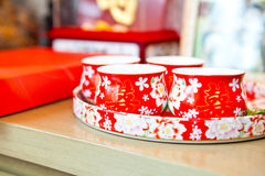 Chinese tea cup in wedding day Royalty Free Stock Image