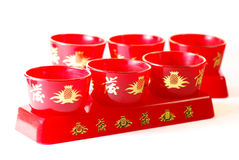 Red Chinese Tea Cups Royalty Free Stock Photography