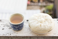 Chinese tea and dumplings streamed. Royalty Free Stock Photo