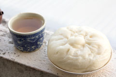 Chinese tea and dumplings streamed. Stock Photos