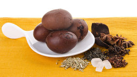 Chinese Tea egg, herb egg with dried herbal Stock Photography