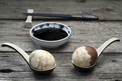 Chinese tea eggs with soy sauce Royalty Free Stock Photography
