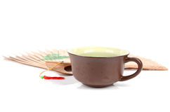 Chinese tea and fan Royalty Free Stock Images