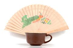 Chinese tea and fan Stock Photography