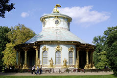 Chinese tea house of Sanssouci in Potsdam. In the castle grounds visited by tourists Stock Photo