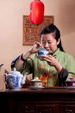 Chinese tea lady, traditionally dressed Royalty Free Stock Image