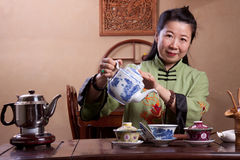 Chinese tea lady, traditionally dressed Stock Image