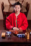 Chinese tea lady, traditionally dressed Royalty Free Stock Photography
