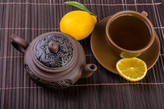 Chinese tea pot  and cup of tea Royalty Free Stock Image