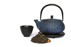 Chinese tea pot with green tea Royalty Free Stock Images
