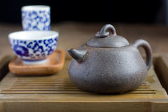 Chinese tea pot made of yixing pottery Stock Photos