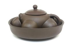 Chinese Tea Pot Set. Traditional brown Chinese tea pot set Stock Photo