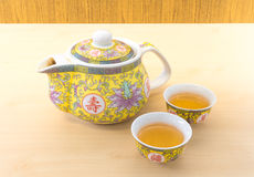 Chinese Tea Pot Set with Two Small Tea Cup Stock Images