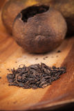 Chinese tea Pu-erh on wooden table Royalty Free Stock Photography