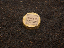 Tea. Chinese tea, Puer, pressed into a circle Royalty Free Stock Photos