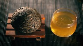 Chinese tea. Puer sort of tea filter variation stock video