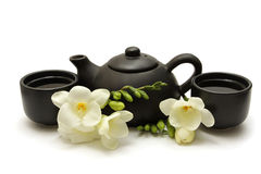 Chinese Tea Set. With Teapot, cups and white flowers Stock Photography