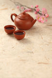 Chinese Tea Set. Two Cups And A Pot Royalty Free Stock Image
