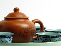 Chinese tea set. With tea pot and cups on a tray Royalty Free Stock Photography