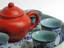 Chinese tea set. With tea pot and cups on a tray Royalty Free Stock Photo