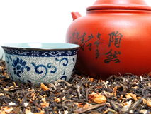 Chinese Tea Set. Close up shot of a Chinese tea set with tea leaf Royalty Free Stock Images