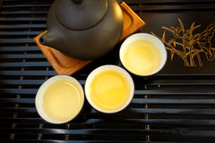 Chinese tea set. It is a set of teapot and cups all together. They show Chinese culture Royalty Free Stock Photo