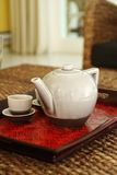 Chinese tea set. On cany salver Stock Photos